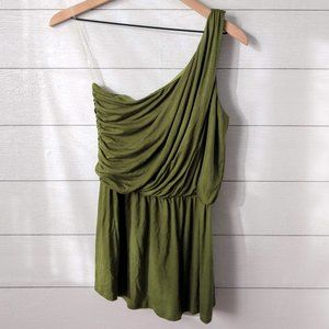 Daytrip One Shoulder Olive Green Peplum Top Small